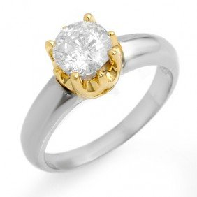 Natural 1.0 Ctw Diamond Ring 14K Multi Tone Gold - L163