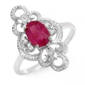 Genuine 1.35 Ctw Ruby & Diamond Ring 10K White Gold - L