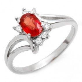Genuine 0.70 Ctw Red Sapphire & Diamond Ring 10K Gold -