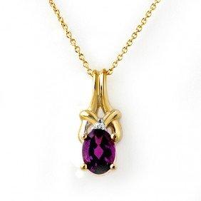Genuine 0.77 Ctw Amethyst & Diamond Pendant 10K Gold -