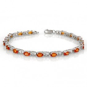 Genuine 6.02ctw Orange Sapphire & Diamond Bracelet Gold