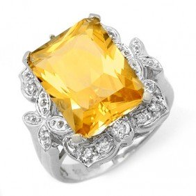 Genuine 9.25 Ctw Citrine & Diamond Ring 14K White Gold