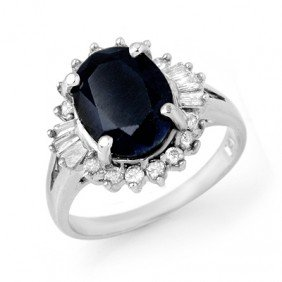 Genuine 5.47 Ctw Sapphire & Diamond Ring 14K White Gold