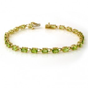 Genuine 6.0 Ctw Peridot Bracelet 10K Yellow Gold