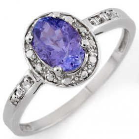 Genuine 1.10ctw Tanzanite & Diamond Ring 10K White Gold