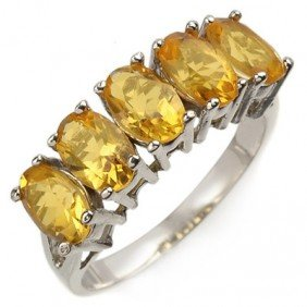 Genuine 2.0 Ctw Citrine 5-stone Ring 10K White Gold