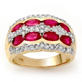 Genuine 2.50 Ctw Ruby & Diamond Ring 14K Yellow Gold