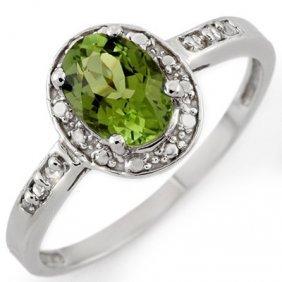 Genuine 1.10ctw Green Tourmaline & Diamond Ring Gold