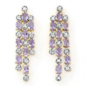 Genuine 4.08 Ctw Tanzanite & Diamond Earrings 14K Gold