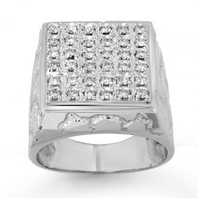 Natural 1.0 Ctw Diamond Men's Ring 14K White Gold