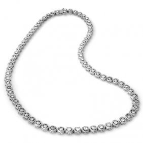 Natural 9.0 Ctw Diamond Necklace 14K White Gold