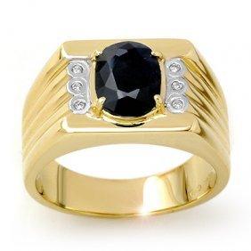 Genuine 3.76 Ctw Sapphire & Diamond Men's Ring 10K Gold