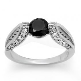 Natural 1.60 Ctw Black Diamond Ring 14K White Gold