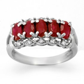 Genuine 2.0 Ctw Ruby & Diamond Ring 10K White Gold