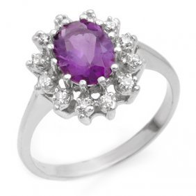 Genuine 1.19 Ctw Amethyst & Diamond Ring 10K White Gold