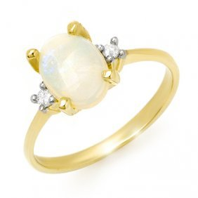 Genuine 1.28 Ctw Opal & Diamond Ring 10K Yellow Gold