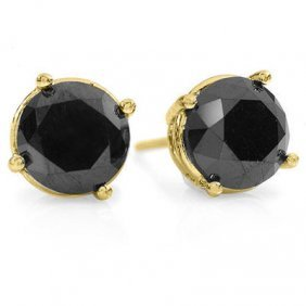 Natural 3.0 Ctw Black Diamond Stud Earrings 14K Gold
