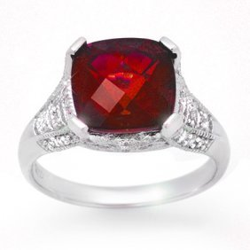 Genuine 4.35 Ctw Rubellite & Diamond Ring 14k Gold