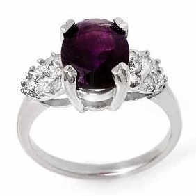 Genuine 2.65ctw Amethyst & Diamond Ring 10K White Gold