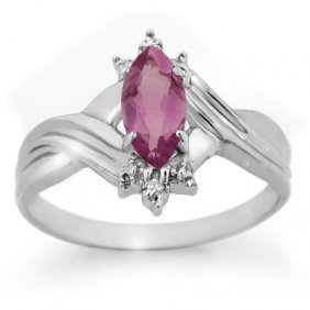 Genuine 0.51 Ctw Amethyst & Diamond Ring 10K White Gold