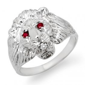 Genuine 0.09 Ctw Ruby & Diamond Men's Ring White Gold