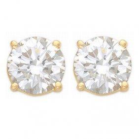 Natural 1.50 Ctw Diamond Stud Earrings 14K Yellow Gold