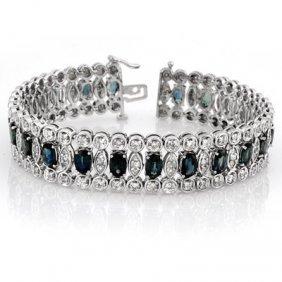 Genuine 18.5 Ctw Blue Sapphire & Diamond Bracelet Gold