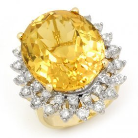 Genuine 20 Ctw Citrine & Diamond Ring 14K Yellow Gold