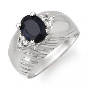 Genuine 1.82 Ctw Sapphire & Diamond Ring 10K White Gold