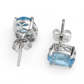 Genuine 2.0 Ctw Blue Topaz Stud Earrings 14K White Gold