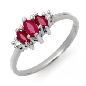 Genuine 0.54 Ctw Ruby & Diamond Ring 10K White Gold