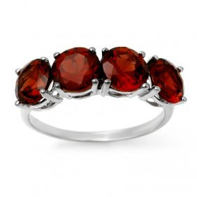 Genuine 3.66 Ctw Garnet Ring 10K White Gold