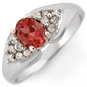 Genuine 0.90ctw Pink Tourmaline & Diamond Ring 10K Gold