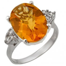 Genuine 5.1 Ctw Citrine & Diamond Ring 10K White Gold