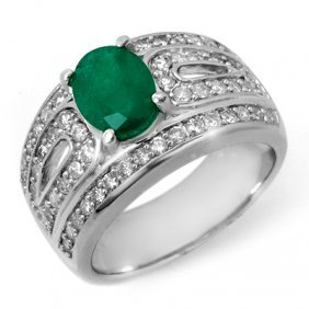 Genuine 2.44 Ctw Emerald & Diamond Ring 14K White Gold
