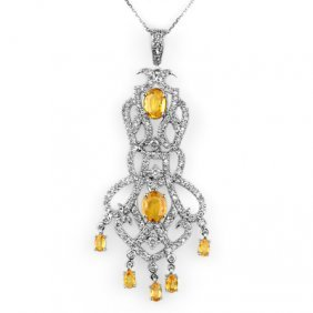 Genuine 7.65 Ctw Yellow Sapphire & Diamond Necklace 14K