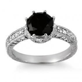 Natural 2.0 Ctw Black Diamond Engagement Ring 14K White