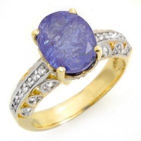 Genuine 4.33ct Tanzanite & Diamond Ring 10K Yellow Gold