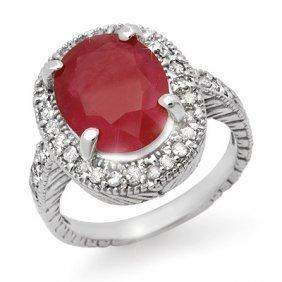 Genuine 4.60ctw Pink Sapphire & Diamond Ring 14K Gold