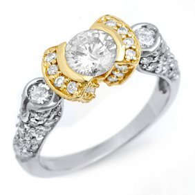 Natural 2.06 Ctw Diamond Ring 14K Multi Tone Gold