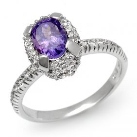 Genuine 1.90ct Tanzanite & Diamond Ring 14K White Gold
