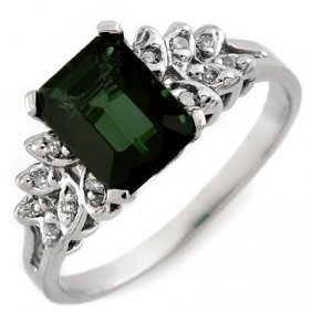Genuine 2.12 Ctw Green Tourmaline & Diamond Ring 10K Go