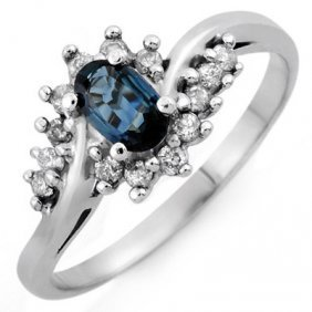 Genuine 0.50 Ctw Blue Sapphire & Diamond Ring 10K Gold