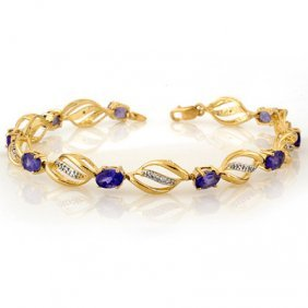 Genuine 5.6 Ctw Tanzanite & Diamond Bracelet 10K Gold
