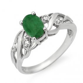 Genuine 0.82 Ctw Emerald & Diamond Ring 10K White Gold