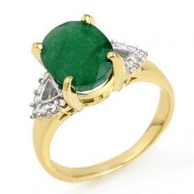 Genuine 4.24 Ctw Emerald & Diamond Ring 10K Yellow Gold