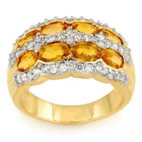 Genuine 3.75ctw Yellow Sapphire & Diamond Ring 14K Gold