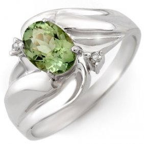 Genuine 1.27 Ctw Green Tourmaline & Diamond Ring Gold