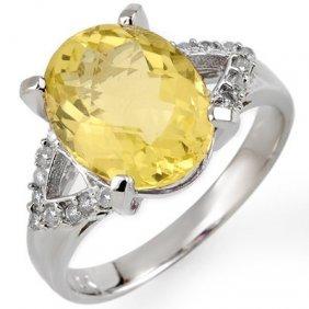 Genuine 5.2 Ctw Lemon Topaz & Diamond Ring 10K Gold