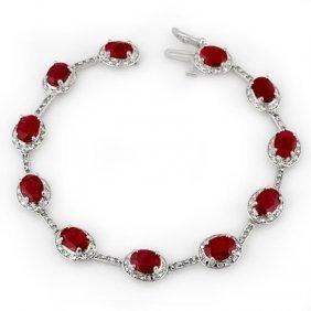 Genuine 12.4 Ctw Ruby & Diamond Bracelet White Gold